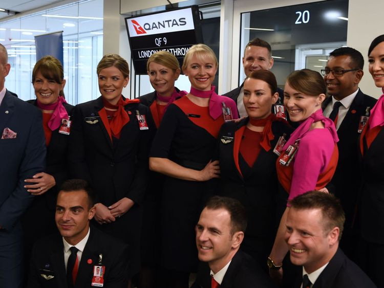 Qantas' 787 Dreamliner takes off on its inaugural flight from Perth to London on March 24, 2018
