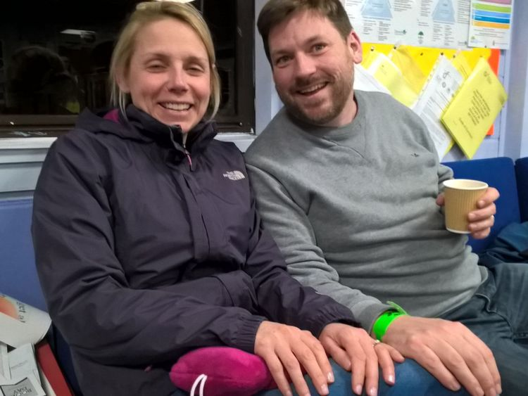 John and Sara Lund who spent their wedding night at the Emergency Rest Centre in at Okehampton College