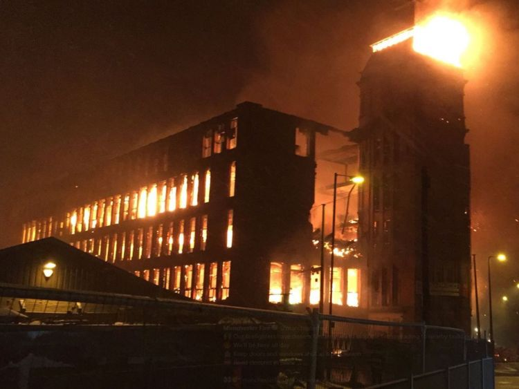 Firefighters were called at 11.43pm. Pic: @manchesterfire
