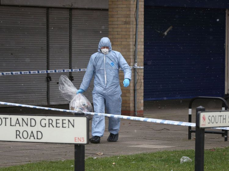 Police at the scene in Enfield
