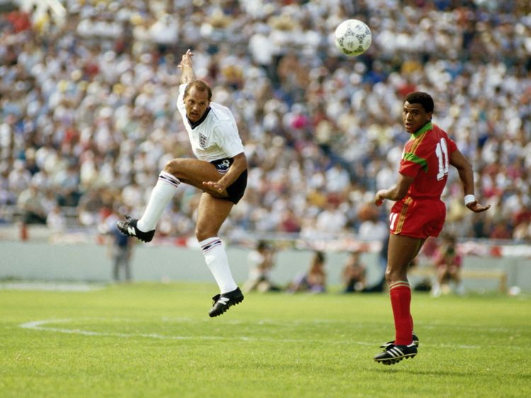 Ray Wilkins of England and Mustafa Merry of Morocco in action during the 1986 FIFA World Cup Group F match on 6 June 1986 at the Tecnologico Stadium in Monterey, Mexico