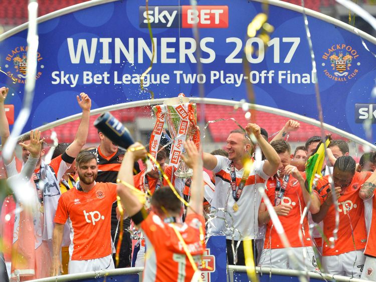 The Sky Bet League Two Playoff Final between Blackpool and Exeter last season