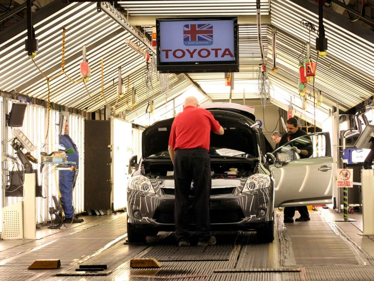 General view of the Toyota assembly line at the Toyota factory at Burnaston in Derby