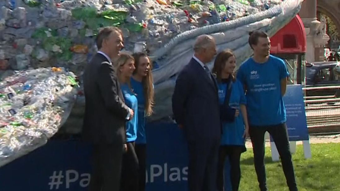 Prince Charles and Sky's CEO Jeremy Darroch meet, with Plasticus the whale in the background