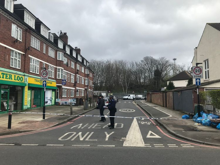 The scene in Hither Green where a 78-year-old man has been arrested for murdering a suspected burglar