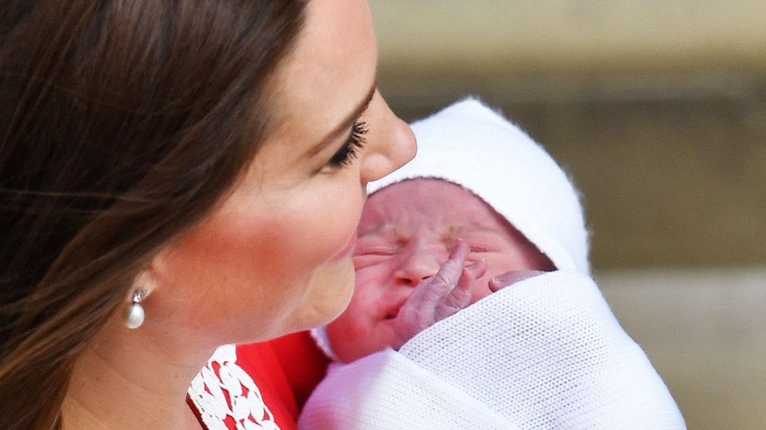 The Duchess of Cambridge with her newborn son outside the Lindo Wing at St Mary's Hospital in Paddington, London