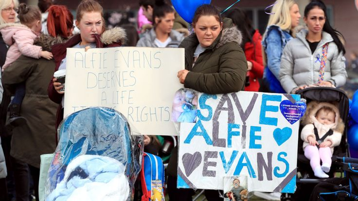 Protesters gathered outside Alder Hey, where Alfie has been treated