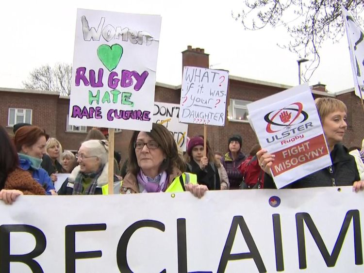 Protesters were campaigning against misogynistic attitudes revealed in the rape trial