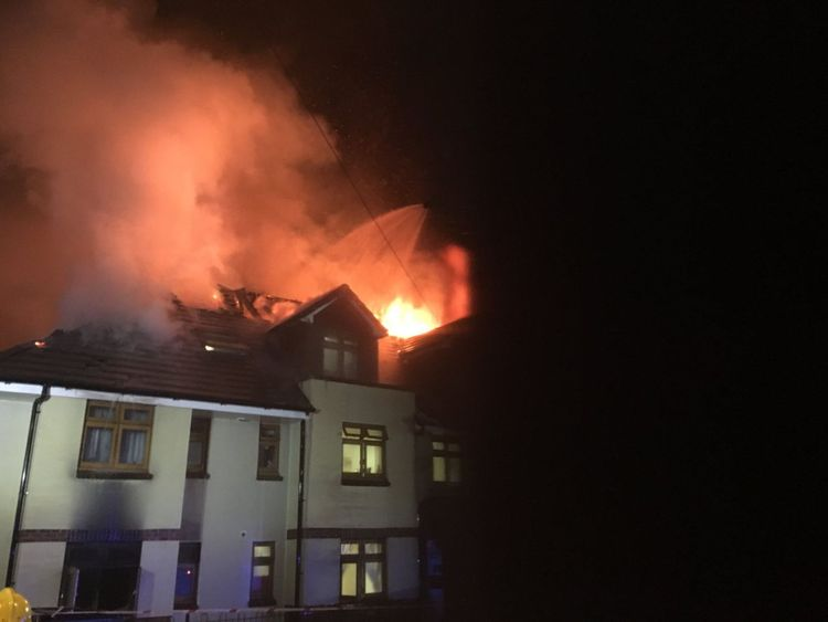 The fire took over two storeys and the roof. Pic: London Fire Brigade