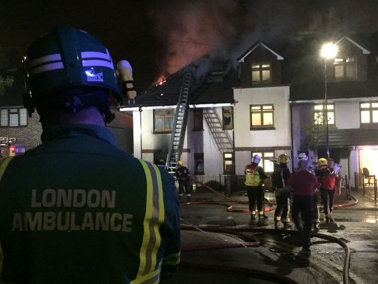 The fire in a three storey building in east London. Pic: @LAS_HART