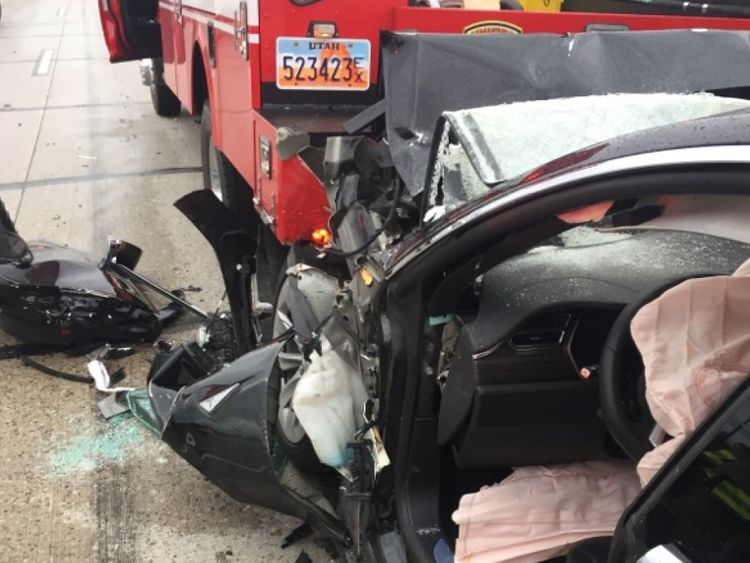 The fire truck was stopped at a red light when the Tesla drove into it at 60mph. Pic: South Jordan Police Department