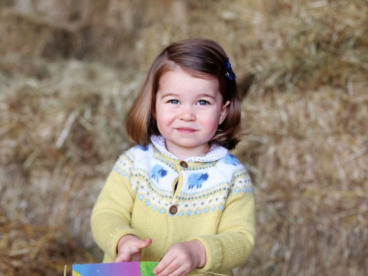 Princess Charlotte just before her second birthday, taken by the Duchess of Cambridge