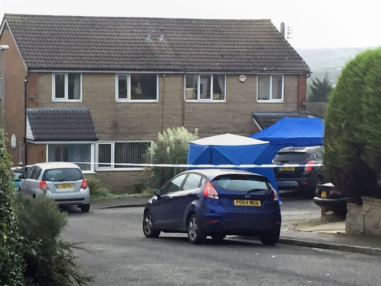 The scene in Barnard Close, Accrington, after a 14-year-old boy was arrested