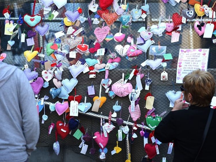 Hand-stitched hearts have been placed around Manchester as part of a social media campaign