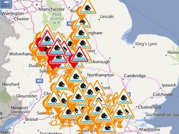 Ten flood warnings are in place, and dozens of alerts. Pic: Environment Agency