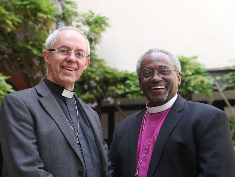 The Archbishop of Canterbury Justin Welby (L) and American bishop Michael Curry, who give the address