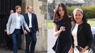 Harry and William greet well-wishers and Doria Ragland and Meghan Markle arrive at Cliveden