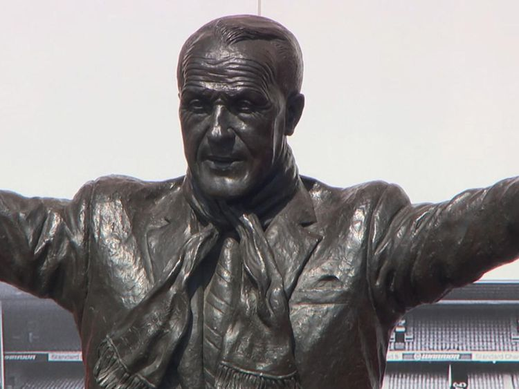 A statue of Bill Shankly stands outside the Anfield football ground