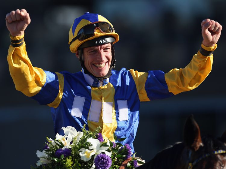 Richard Hughes celebrates with Chriselliam after winning the Juvenile Fillies Turf during the 2013 Breeders' Cup, his only Group 1 winner stateside