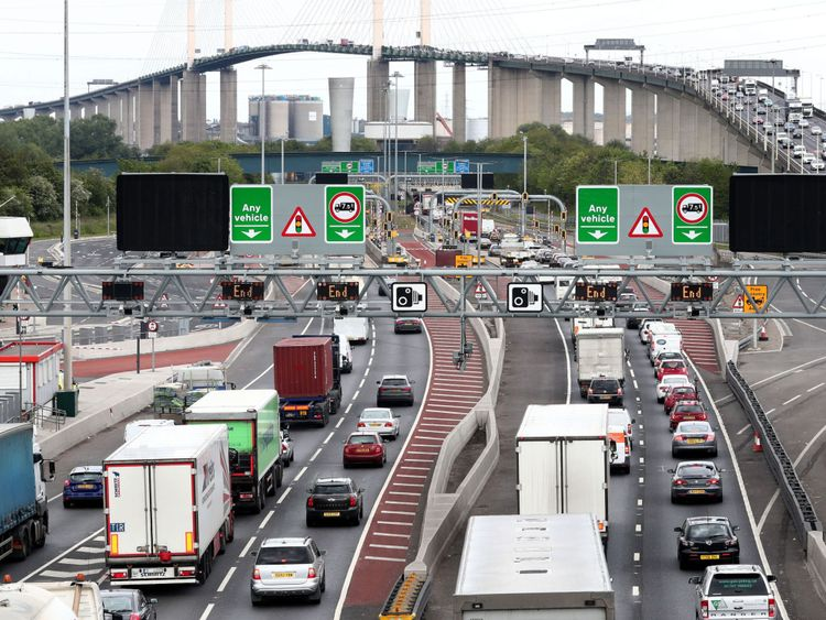 Traffic builds up at the Dartford Crossing in Kent as the bank holiday getaway begins.