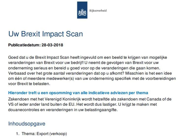 The Dutch Brexit Impact Scan warns businesses that if they use UK parts they will be taxed