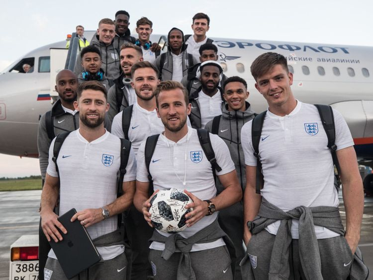 The England team have signed the match ball following Harry Kane's hat trick