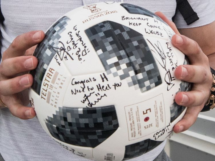 The match ball was signed by the team