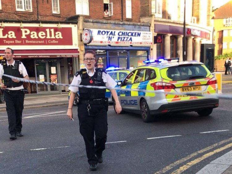 Police near Southgate station. Pic: Debbie