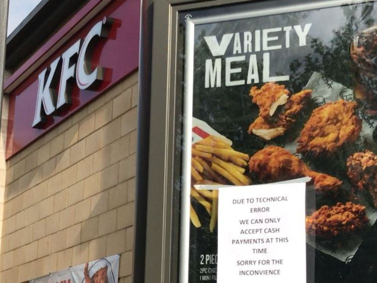 A KFC had to post a sign to warn customers that they could only accept cash. Credit: Dan Heley