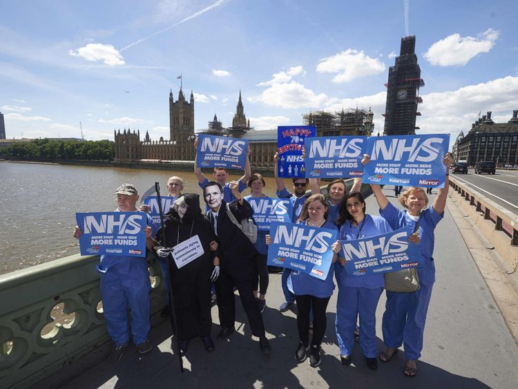 Hospital staff took part in another demonstration in the capital last week