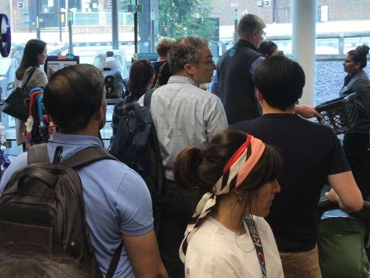 Shops quickly filled up as customers had issues paying with Visa cards. Credit: Leo Mackillop