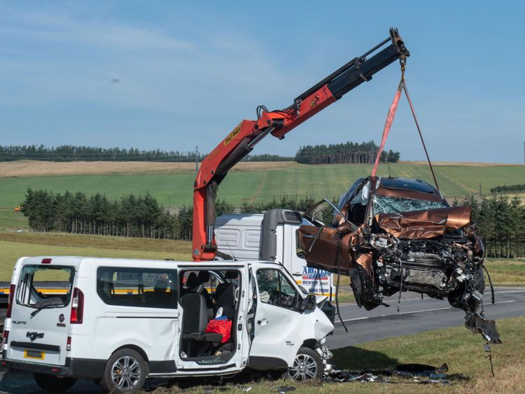 The scene on the A96 between Huntly and Keith in Moray where a five people have died and five more were injured after a crash between a minibus and a car.