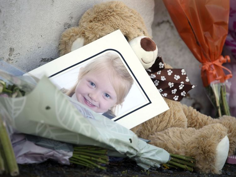 A picture of Alesha MacPhail outside the house from where she went missing