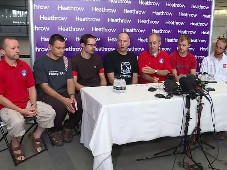 The British caver divers involved in the Thai cave rescue give a press conference at Heathrow