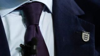 Mark Carney, Governor of Bank of England, wearing an England 'Three Lions' lapel pin