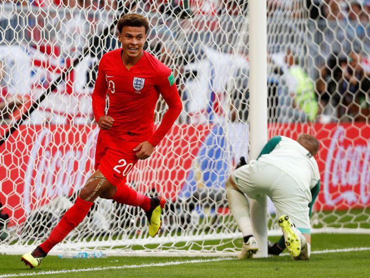 England's Dele Alli celebrates scoring their second goal