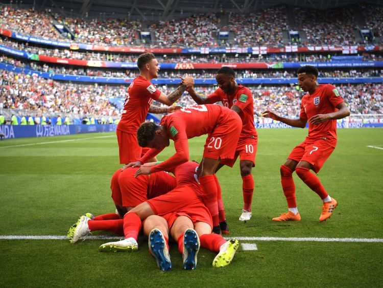England celebrating their first goal