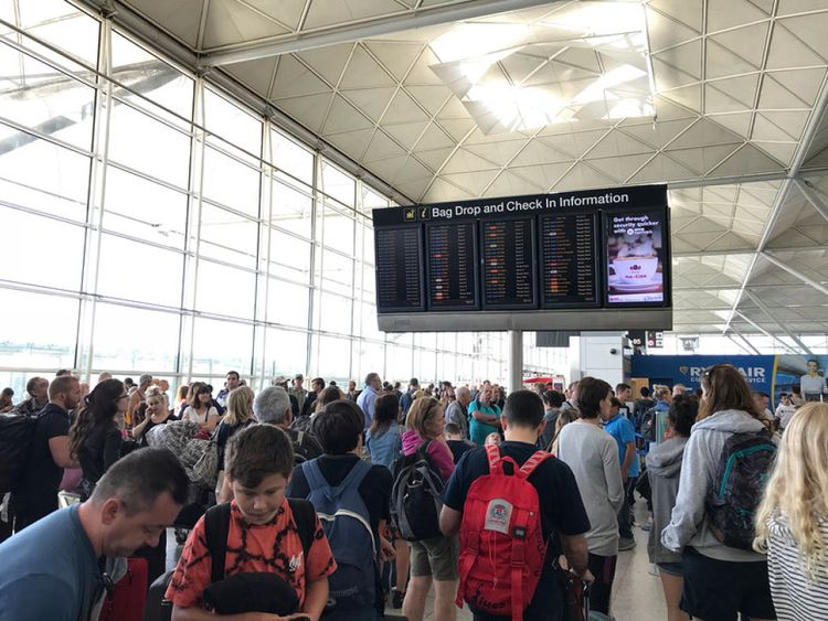 Passengers hoping for some information from the Stansted boards