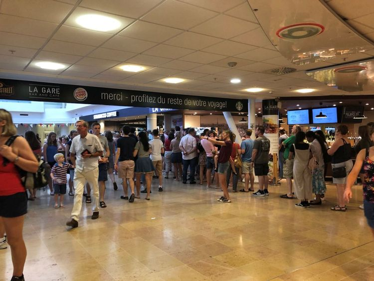 Queues in the Eurotunnel terminal on Friday, when there was also disruption
