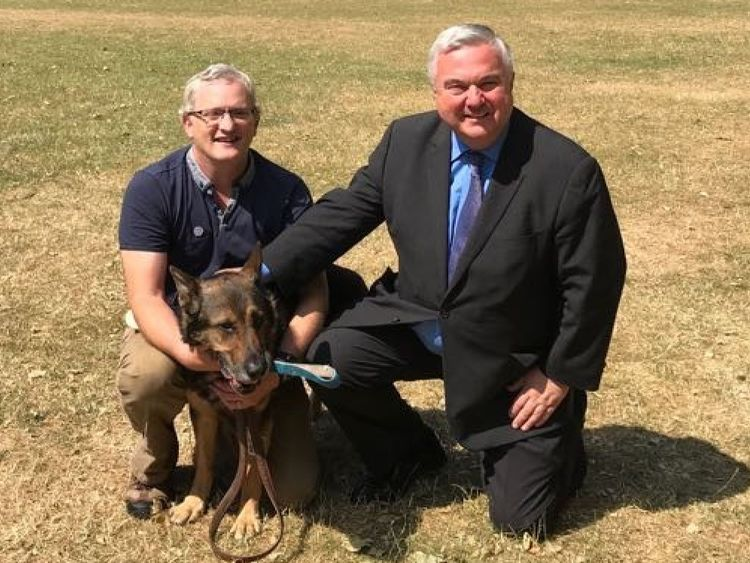 PC Dave Wardell's life was saved when his dog, Finn, almostdied while chasing a robbery suspect who stabbed him in the head and chest.