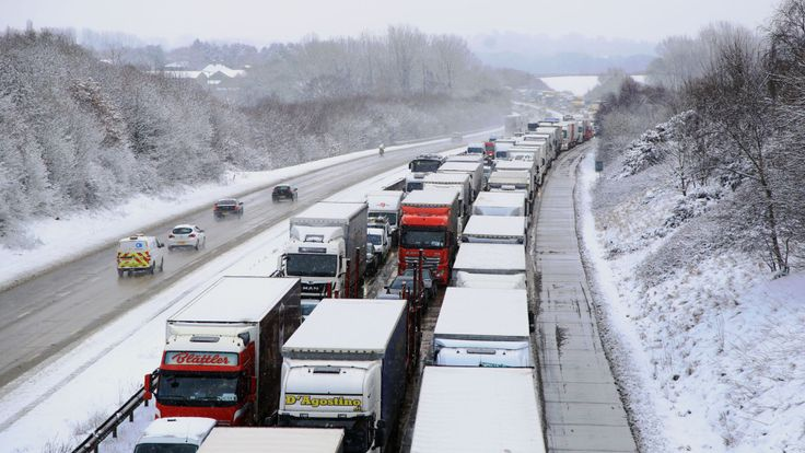 Stationary traffic on the M20 near Ashford, Kent