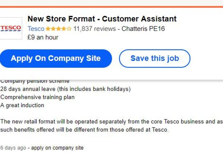 Tesco has advertised jobs online for its new stores