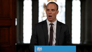 Brexit secretary Dominic Raab gestures during his speech outlining the government's plans for a no-deal Brexit