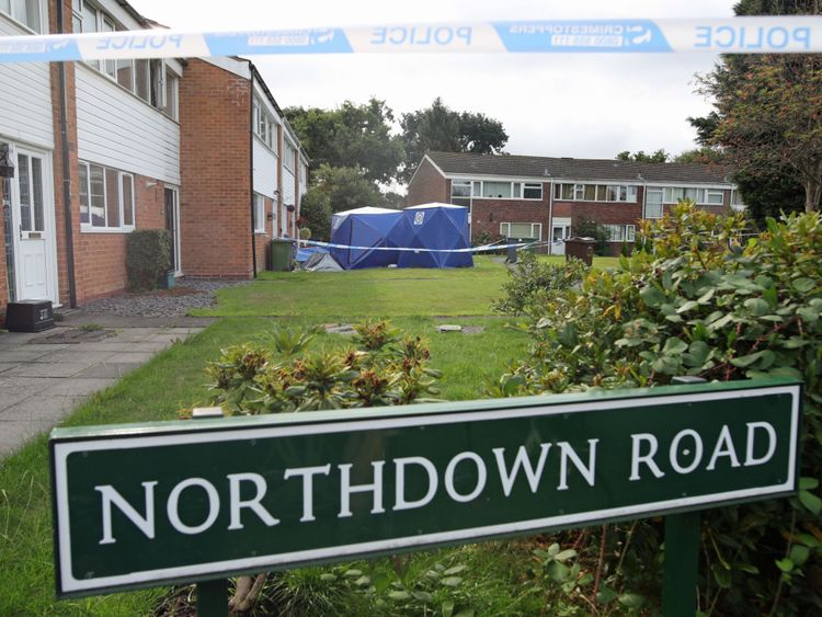 Forensic tents outside a house in Northdown Road, Solihull