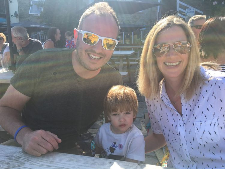Rachael Bland with her son Freddie and husband Steve