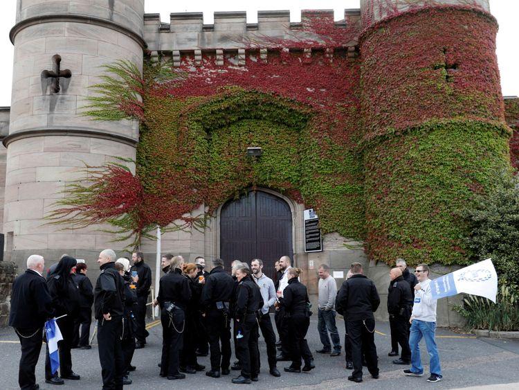 Prison staff outside Leicester Prison