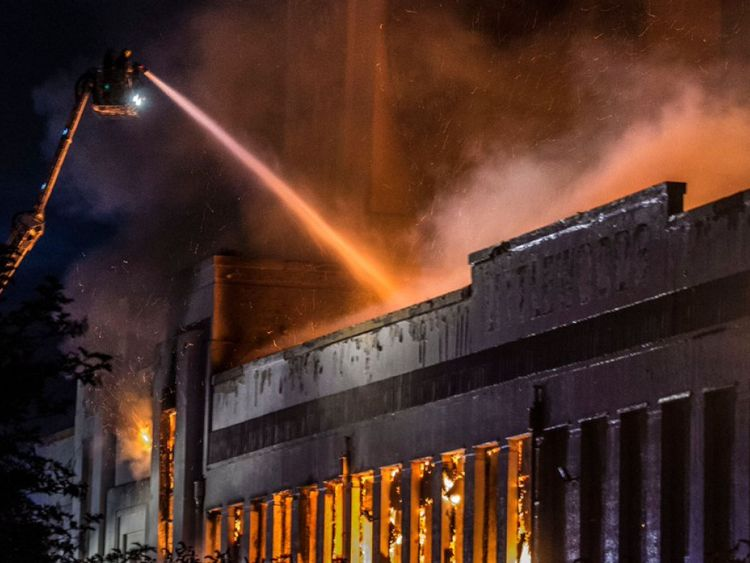 The Littlewoods building ablaze in Liverpool
