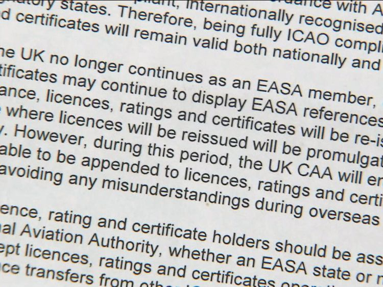 Pilot licences will no longer be recognised by the EU if the UK drops out of the European air safety mechanism, leaked Civil Aviation Authority documents obtained by Sky News reveal.