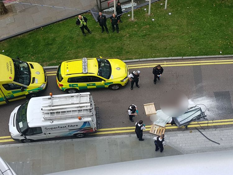 The man was found in the road on the Albert Embankment in central London. Pic: Afshin Rattansi